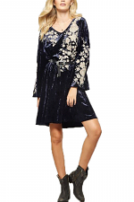 Velvet Dress with Embroidery