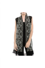 Cardi Vest With Lace Trim & Stones in Taupe