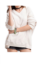Hoodie Pull Over Tunic With Kangaroo Pocket in Oatmeal