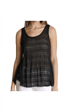 Tank Top With Trim & Stones in Black