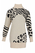 High Collar Leopard Print Sweater