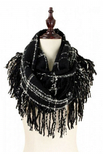 Fringed Plaid Infinity Scarf