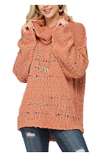 Contrast Color Detailed & Texture Pullover Sweater