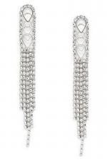 Layered Teardrop Rhinestone Long Drop Earrings