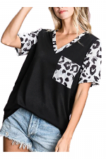 French Terry with Leopard Print Multi Play Top