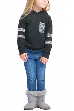 Kids Long Sleeve French Terry Hoodie with Sparkles