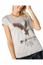 Drape Shoulder Top with Eagle and Dream Catcher