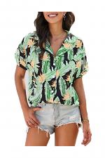 Palm Leaf Button Front Top