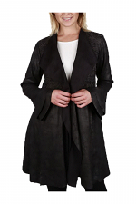 Embroidered Suede Jacket with Bell Sleeves