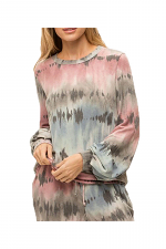 Tie Dye Balloon Sleeves Terry Pullover