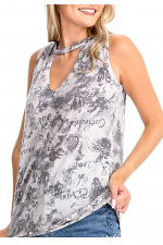 Floral and Angel Print Top