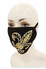 Fleur De Lis Gold Glitter Cotton Face Mask
