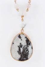 Stone Teardrop & Mix Beads Necklace