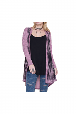 Open Front Cardi With Stone Print in Pink