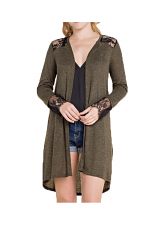 Long Sleeve Cardigan With Lace & Trim in Olive