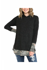 Hoodie Top with Army Contrast
