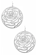 Metal Floral Cut Out Circle Drop Earrings