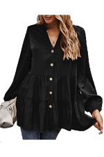 Button Down Long Sleeve Ruffled Blouse