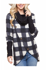 Checkered Plaid Asymmetric Buttoned Long Sleeve Top