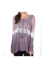 Long Sleeve Two Tone Dyed Top in Plum