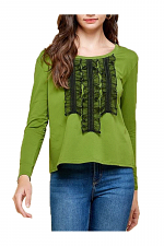 Tulle Shirred Ruffled Round Neck Top