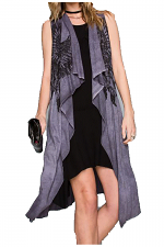Dirty Wash Long Vest With Stones