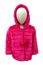 Girls Faux Fur Coat with Bead Accents