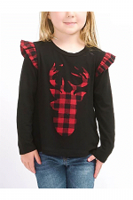 Kids Long Sleeve Reindeer Top with Ruffled Sleeves