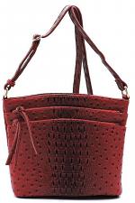 Ostrich Croc Multi Zip Pocket Crossbody Bag