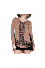 Long Sleeve Top With Lace in Camel