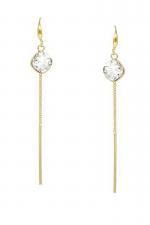 Lightweight Glass Stone Simple Chain Drop Earrings