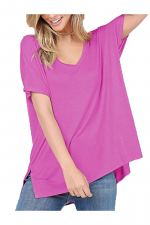 Basic Short Sleeve V Neck Boxy Fit Top