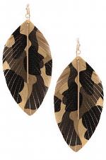 Faux Lather Camo Leaf Earrings