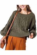 Round Neck Multi Knit Bubble Sleeve Sweater