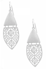 Metal Quatrefoil Cut Out Drop Earrings
