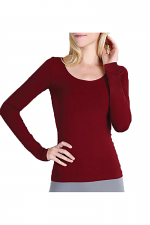 L/S Scoop Neck Top in Dark Burgundy