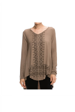Long Sleeve Printed Top in Taupe