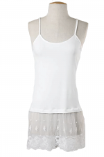 Jersey Cami Top With Lase Trim in Ivory