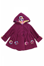 Girls Hooded Jacket with Flower Accents
