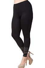 Leggings With Stone & Lace Detail