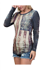 Lace Contrast Long Sleeve Flag Top