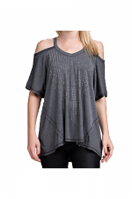 Open Shoulder Top With Stones in Charcoal