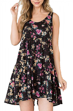 Floral Sleeveless Flared Romper