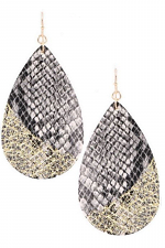 Faux Leather Snake Print Earrings