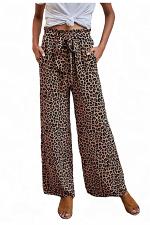 Animal Print Pants with Drawstring Waist