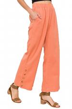 Button Down Side Slit Pants