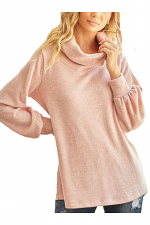 Funnel Neck Ribbed Sweater