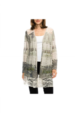 Lace Contrast Cardigan With Stones in Taupe