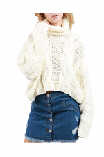 Cropped Turtleneck Sweater in Cream