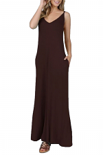 Adjustable Spaghetti Strap Sleeveless V-Neck Maxi Dress